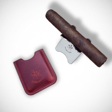 Cherry Red Leather Cigar Stand