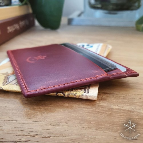 Card Holder - Cherry Red Leather